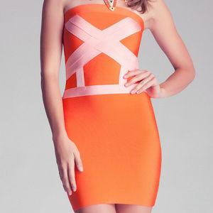 bebe orange strapless bandage dress L